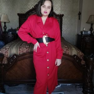Vintage 80s red coat dress gold buttons size 8